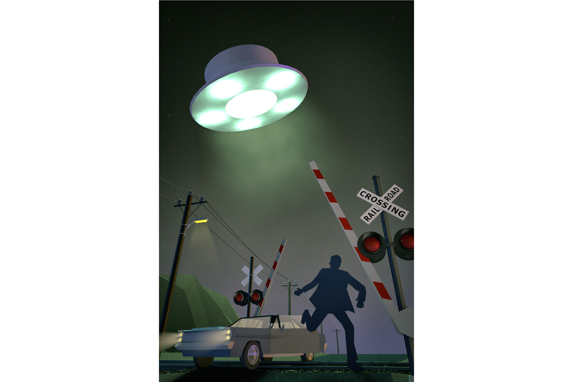 3D illustration of a UFO