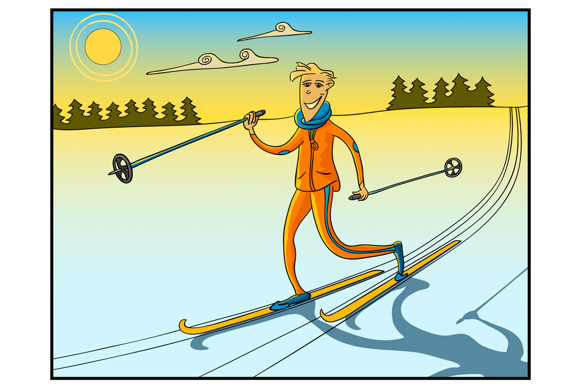 cross-country skiing illustration