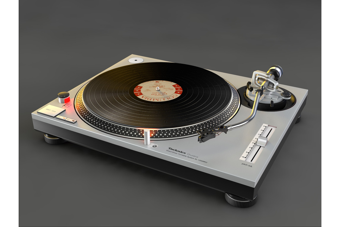 3D illustration of a turntable
