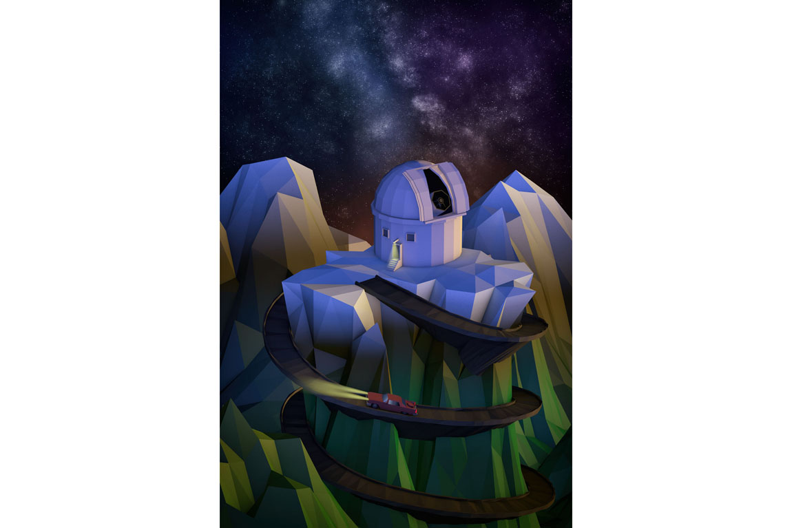 3D illustration of an astronomical observatory